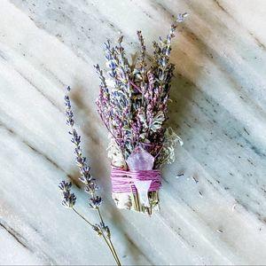 Lavender Sage Smudge Stick w/ Amethyst Crystal